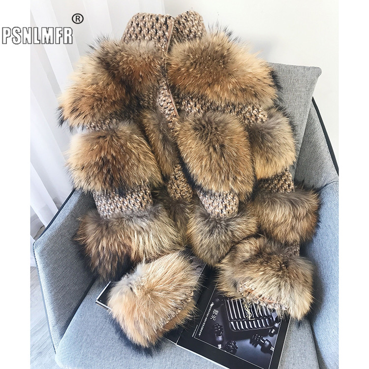 New Arrival Elegant Ladies Genuine Raccoon Fur Warm Women's Winter Coat Famous Blogger Trendy Female Real Fur Coat With Woollen