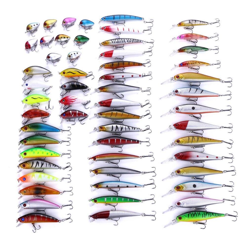 56 leurres de pêche pièces/ensemble couleur mixte taille appâts de bar durs appâts artificiels hameçon Treble truite attirail leurre poisson appâts artificiels