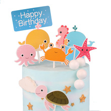 Happy Birthday Cake Topper Cartoon Dinosaur & Ocean World Decorating Cupcake Toppers Kids Party Decoration