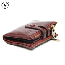 Cow genuine Leather Men's Wallet Small Men Vintage Wallets Double Zipper Hasp Male Short Coin Purse carteira