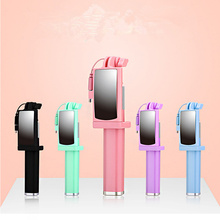 Universal Mini Selfie Stick with Mirror 360 Rotatable Foldable Portable Extendable Wired Self for Samsung Huawei Xiaomi