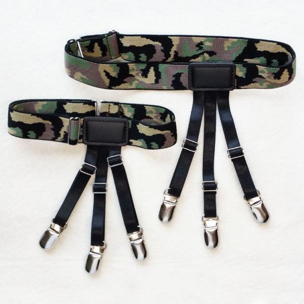 2Pcs Elastic Adjustable Mens Shirt Stays Holders Camouflage Garters Belt Clamps Leg Suspenders Shirt Tuck Tirantes Hombre