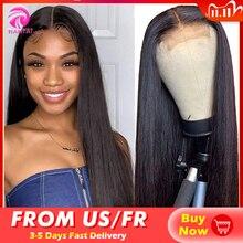 Tiantai 28 polegada encerramento peruca 4x4 fechamento do laço peruca perucas de cabelo humano perucas longas em linha reta para a mulher brasileira remy 150 densidade
