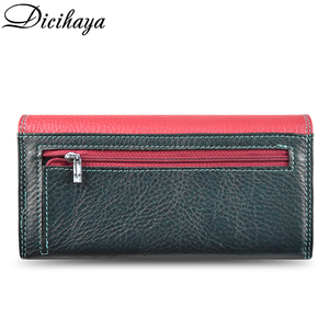 Image 2 - DICIHAYA Contrast Color Genuine Leather Women Wallet Purse Female Luxury Leather Long Womens Handbag Genuine Leather Pouch