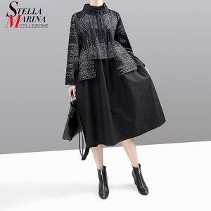 Image 1 - חדש קוריאני סגנון 2019 נשים חורף שמלה שחורה ארוך שרוול מנדרינית צווארון פסים טלאים ליידי Midi רטרו שמלת vestido 5667