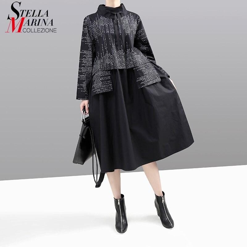 New Korean Style 2019 Women Winter Black Dress Long Sleeve  Mandarin Collar Striped Patchwork Lady Midi Retro Dress vestido  5667Dresses
