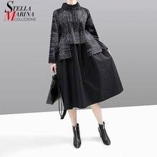 New Korean Style 2019 Women Winter Black Dress Long Sleeve Mandarin Collar Striped Patchwork Lady Midi Retro Dress vestido 5667