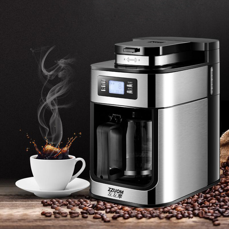 Máquina de café con pantalla LED completamente automática, molinillo de café por goteo, máquina de café pequeña para el hogar, molienda de harina de soja Manguera de 4 vías de 1