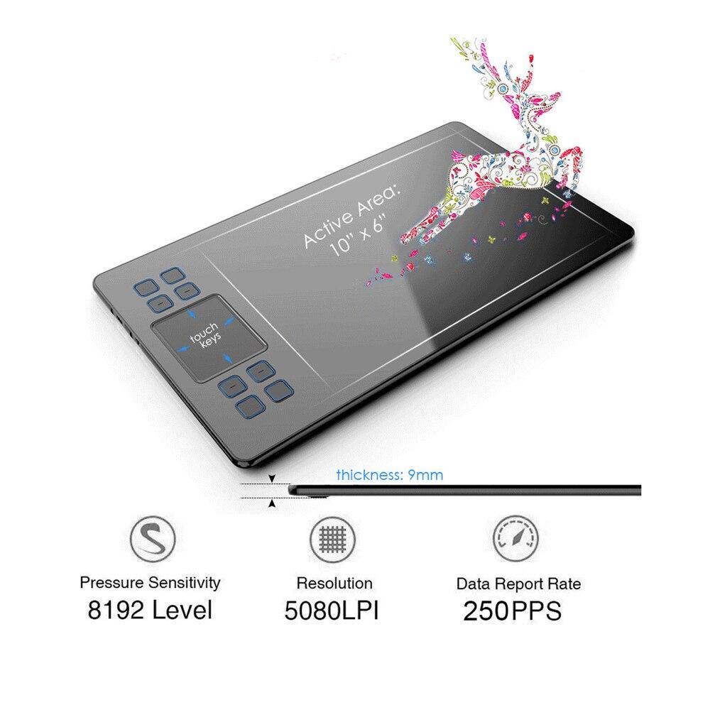 Tablette de dessin graphique VEIKK A50 avec 8192 de sensibilité à la pression (stylo passif sans batterie) périphériques d'ordinateur de tablette numérique - 3