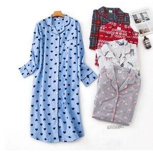 Image 2 - Nightgown Pyjamas Womens Sleepwear Lady Cotton Long Nightdress Plaid Cartoon Pyjamas Loungewear Nightwear With Pocketed