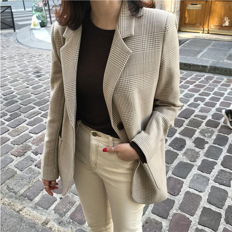 HziriP Plaid Office Ladies All Match OL Stylish Vintage Plus Size Hot Slender Women Casual Retro Elegant Single-Breasted Blazers