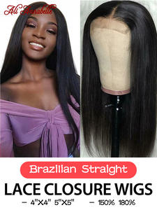 Wigs Human-Hair-Wigs Lace Ali-Annabelle Straight Brazilian 4x4 with 5x5