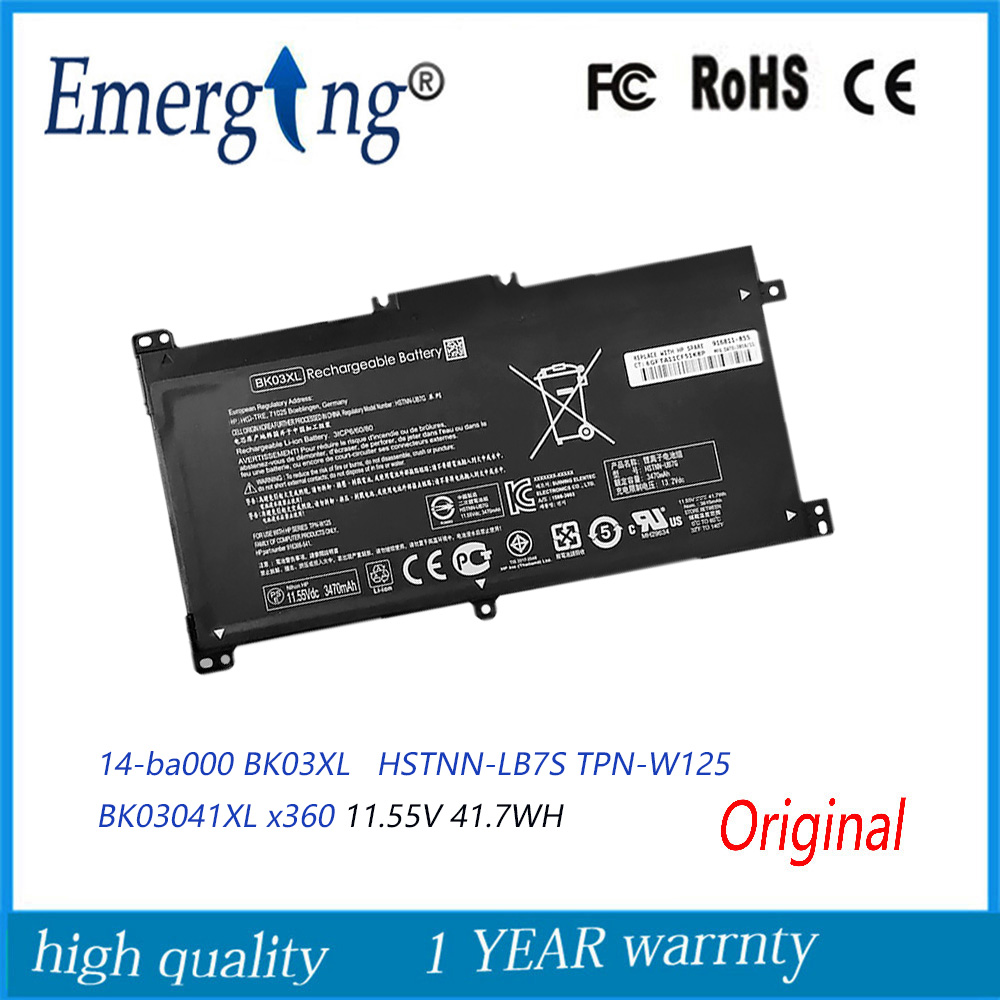 11.55V 41.7WH New Original Laptop Battery BK03XL For HP  Pavilion X360 14 14M HSTNN-LB7S TPN-W125 BK03041XL 916366-541