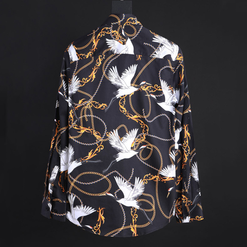 men's shirt printing red crowned crane necklace rope paisley pattern fashion long sleeve shirt high quality new man business top - 2