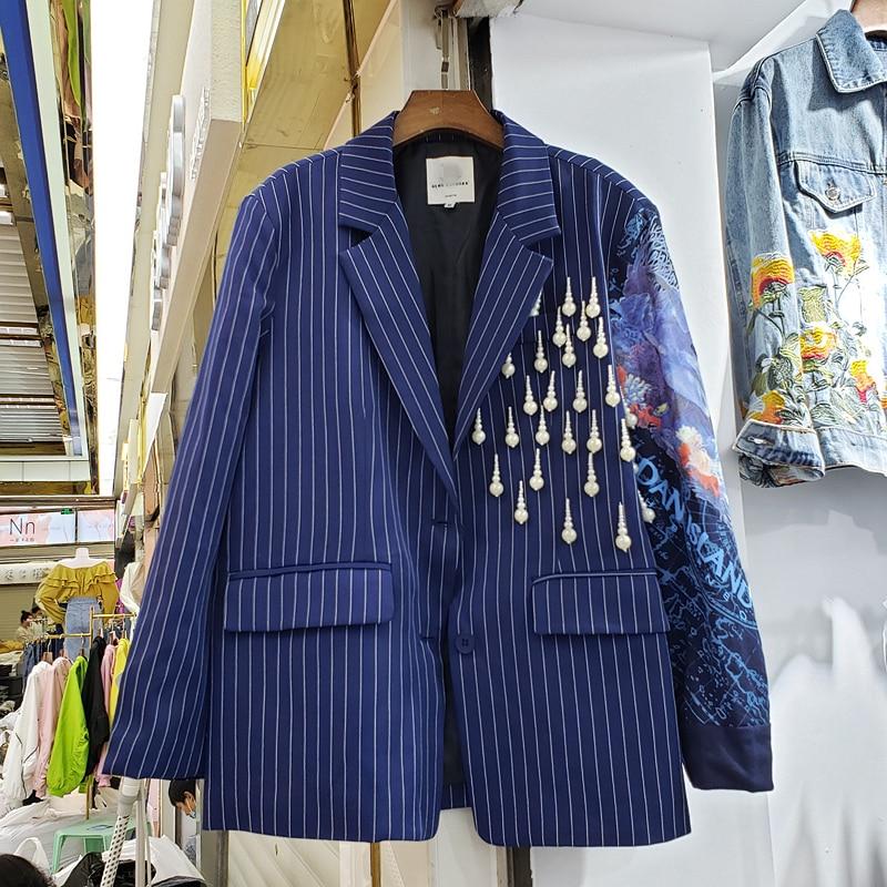 Harajuku Blazer Coat Woman 2020 Spring Autumn New Style European Elegant Stripes Pearl Tassels Blue Suit Jacket Women's Coat