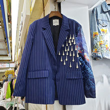 Harajuku Blazer Coat Woman 2020 Spring Autumn New Style European Elegant Stripes Pearl Tassels Blue Suit Jacket Women's Coat