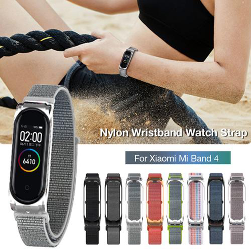 Replacement Watch Band Nylon Wristband Metal Shell Watch Strap For Xiaomi Mi Band 3 4 Bracelet Breathable Smart Watch Accessorie