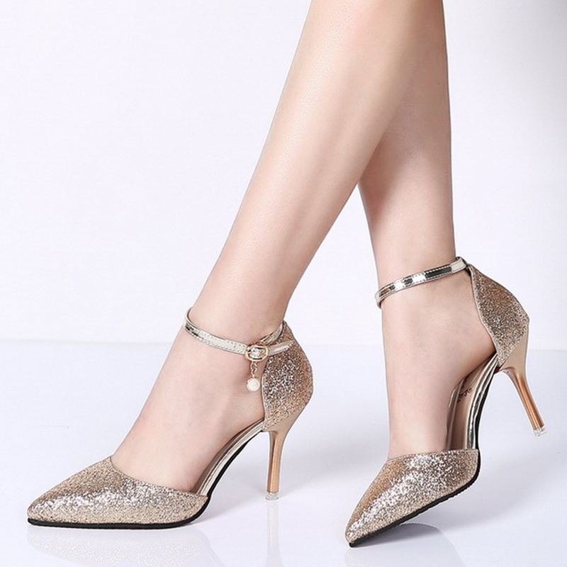 Rimocy elegant ladies shinning glitter gold silver pumps 2019 sexy pointed toe high heels ankle strap wedding party shoes woman