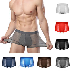 See-through Male Underwear Ice Silk Mesh Underpants Sexy Floral Boxershorts Summer Shorts Men's Boxer Men Panties 2020 New