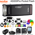 Godox ad200pro 200ws ttl hss 2.4g sem fio ao ar livre flash luz ad200 pro bolso flash luz para sony nikon canon fuji olympus