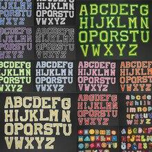 Patchs en fer brodé pour vêtements, 26 pièces/lot, autocollant de lettres de dessin animé, Alphabet, nom ABC