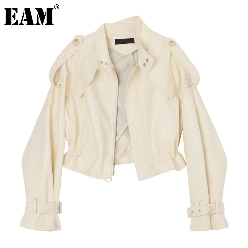 [EAM] Loose Fit Black Pu Leather Big Size Jacket New Stand Collar Long Sleeve Women Coat Fashion Tide Spring Autumn 2020 1DA415 1