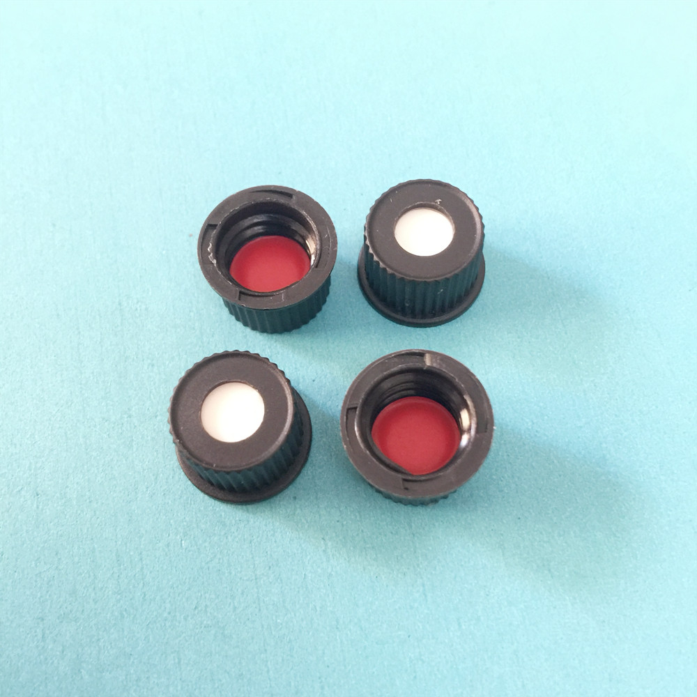 Black Open-topped Polypropylene Cap Red PTFE/White Silicone Septa 8 Mm For Shimadzu/DIONEX Chromatography Vial 1.5 Ml 100 / PK