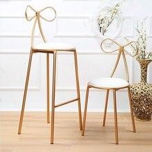 Скандинавский спальня железный стул туалетный креативный бытовой PU коврик бант стул принцессы чайный магазин кофейное кресло