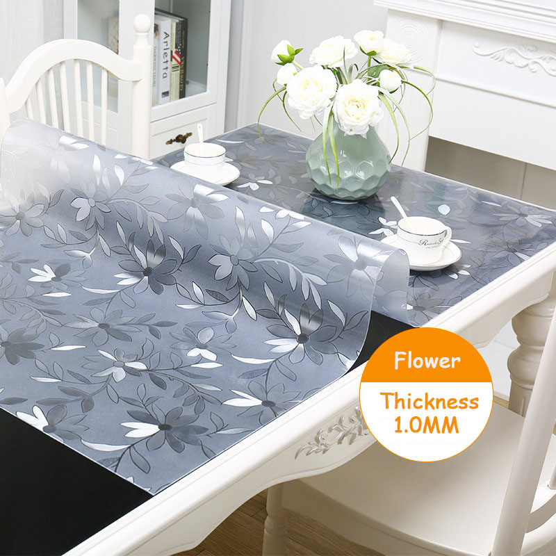 Withme Soft Glass Tablecloth Transparent Silicone Liquid Glass On The Table Cloth Cover PVC Waterproof Tablecloth Flower Pattern