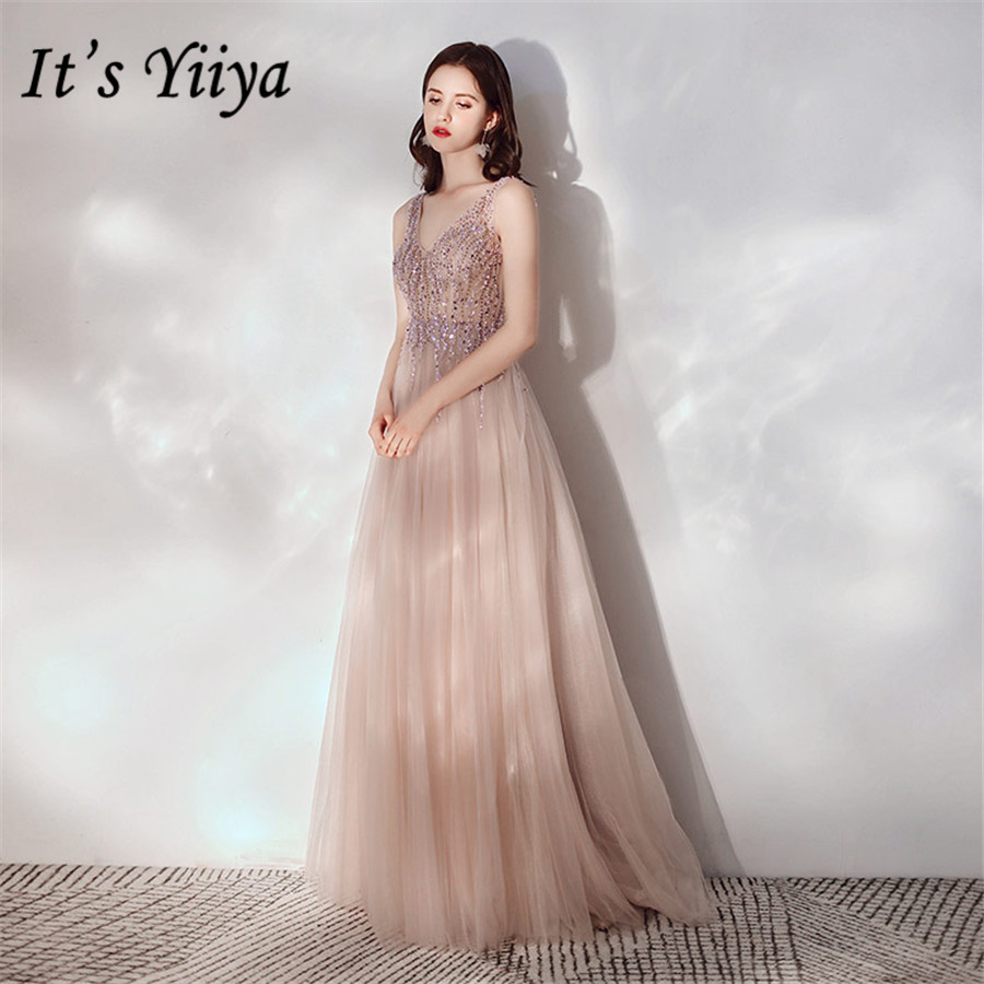 It's Yiiya Evening Dress Elegant Crystal Tassel Handmade Formal Dresses For Women E1357 Plus Size V-neck Sling Robe De Soiree