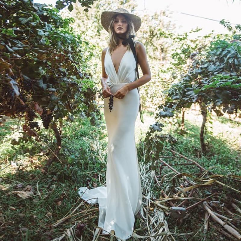 Verngo Mermaid Wedding Dress Boho Backless Wedding Gowns Stain Elegant Backless Bride Dress Vestido De Novia Gelinlik 2020