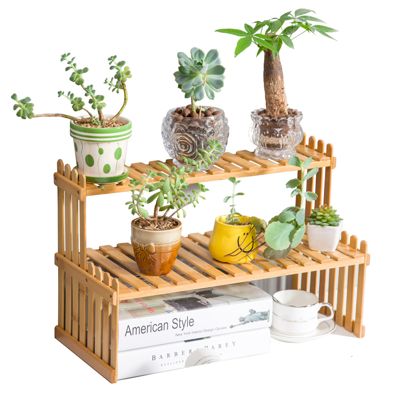 Small Flower Rack Windowsill Office Desktop Mini Bamboo Potted Plant Shelf Indoor On The Table Multi-storey Flower Airs
