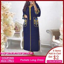 Темно-синее длинное женское платье с карманы с цветочным принтом на молнии с v-образной горловиной и Осень роковой, сексуальными боковыми Ра...