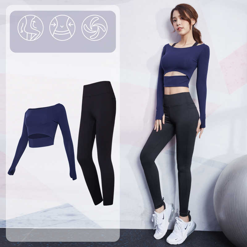 Vansydical Frauen Crop Top + Hüfte Up leggings Yoga Sexy Sportswear Sport Anzug Gym Shirts Stretchy Leggings Fitness Workout Set