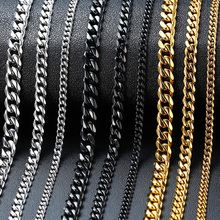 Vnox Basic Punk Stainless Steel Necklace for Men Women Curb Cuban Link Chain Chokers