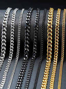 Necklace for Link-Chain Chokers Punk Cuban Curb Gold-Tone Basic Stainless-Steel Metal