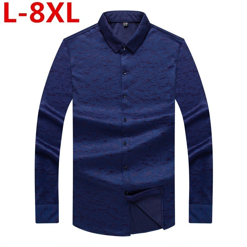 Plus Size 8XL 7XL 6X Men Printed Shirts New Mens Dress Shirts Long Sleeve Slim Casual Blue Red Social Male Clothes Chemise Homme