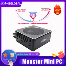 Eglobal Juego Mini PC Intel i5 9300H i7 8850H 6 Core 12 hilos Nuc computadora ganar 10 Pro NVMe PCIe 2 * DDR4 AC WiFi HDMI Mini DP