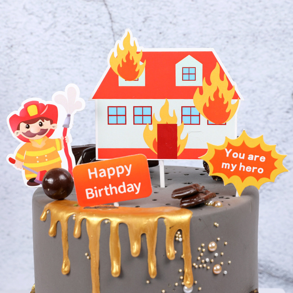 Magnificent 1 Set Firefighter Theme Cake Topper Happy Birthday Topper Fireman Personalised Birthday Cards Veneteletsinfo