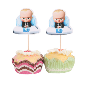Image 1 - 24pcs Boss Baby Cupcake Toppers  Candy Bar Pick with Bamboo Birthday Party Supplies Kids Baby Shower Decorations