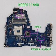 K000111440 도시바 C660 노트북 노트북 마더 보드 메인 보드 용 PWWAA LA 6842P HM55 DDR3 테스트 됨