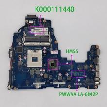 K000111440 pwwwaa LA 6842P hm55 ddr3 para toshiba c660 notebook placa mãe do portátil testado