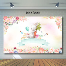 NeoBack Cute White Rabbit Baby Shower Backdrop Watercolor Flower Photo Background kids Child Birthday Photography Backdrops