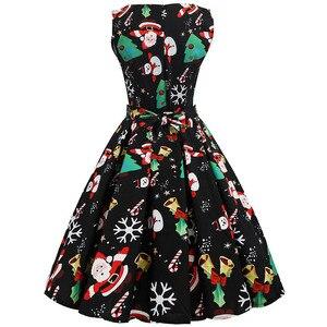 Image 2 - S ~ 3XL Di Natale Delle Donne del Vestito Stampa Floreale Abito Vintage Sottile Casual Senza Maniche Elegante Midi Vestiti Da Partito Vestidos Robe