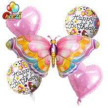 5 stücke Regenbogen Schmetterling Folie Ballons 18 inch Herz Stern Helium Ballon Geburtstag Party Dekorationen Kinder Spielzeug Baby Dusche Globos