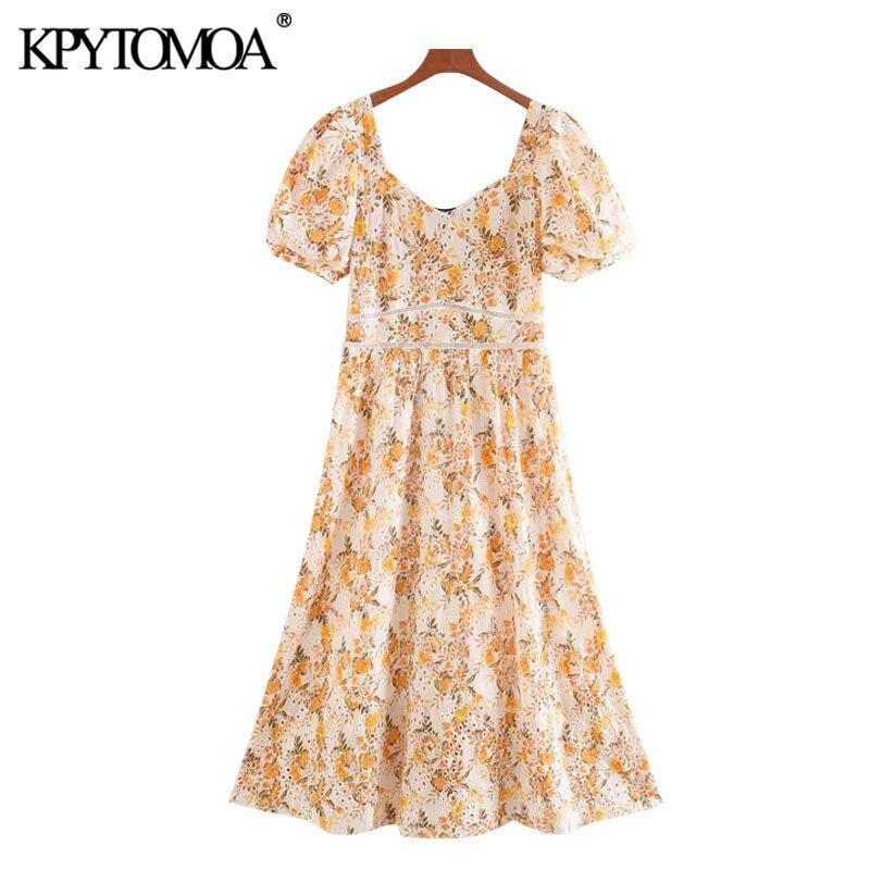 KPYTOMOA Women 2020 Chic Fashion Cutwork Embroidery Patchwork Midi Dress Vintage V Neck Short Sleeve Female Dresses Vestidos