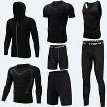 Running Training Clothes Men 7PCS/SETS Compression Running Sets Basketball Jogging Tights Underwear Set Gym Fitness Sports Suits(China)