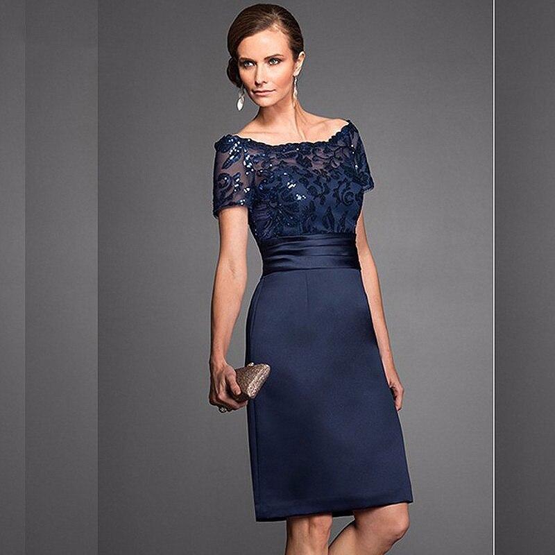 Elegant Navy Scoop Sheath Navy Mother Of The Bride Dresses Satin Short Sleeves Sequin Knee Length Wedding Guest Gown Custom Made
