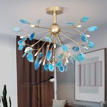 青瑪瑙スライスユニークなシャンデリアダイニングルームピンクシャンデリア美しい装飾キッチン玄関照明器具オリジナル工場