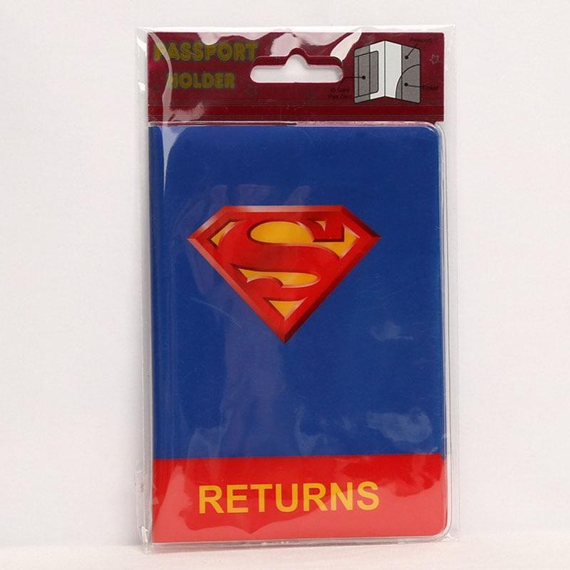 1 Pcs Hot Sale Cartoon Superman Travel Passport Cover Fashion Women Cute PVC Leather Travel ID Card Case Document Bag
